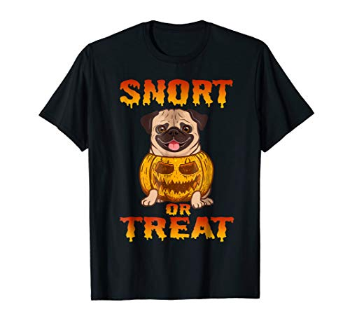 Funny Pug Pumpkin Halloween Shirt Snort or Treat -