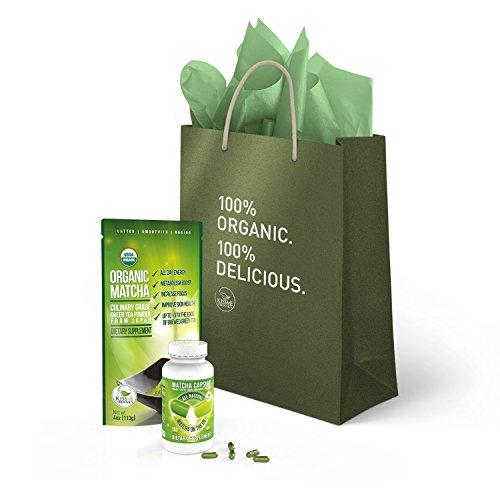 Kiss Me Organics Matcha Gift Set - Organic Culinary Matcha (4 oz) & Matcha Capsules (150 capsules) - Includes a Beautiful Branded Gift Bag