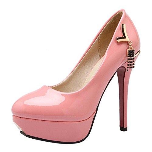 Pink TAOFFEN Women's Shoes Pumps Stiletto 84 Solid vvFxq4wC