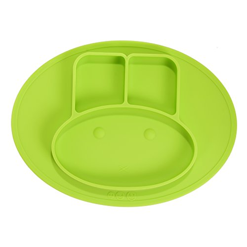 Lotoii Galaxy Mini Bunny Silicone Placemat and Plate, 3 Compartments, Non-slip Waterproof, Suction, Roll up with Travel Bag, Fits Highchair Trays, Dining Tables, FDA Approved, for Babies, Kids (Green)