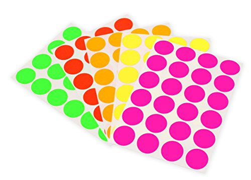 ChromaLabel 3/4 inch Color-Code Dot Labels on Sheets | 5 Assorted Colors | 1,200/Variety Pack (Fluorescent)