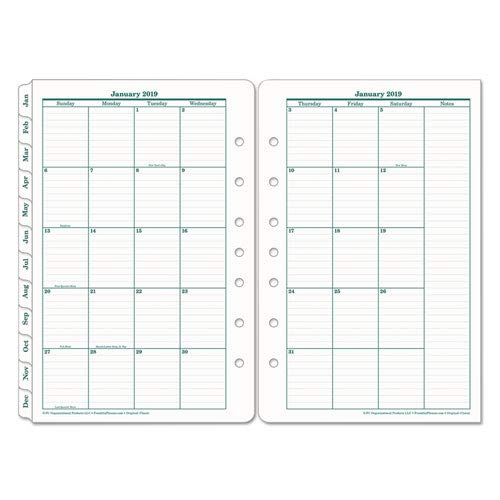 Franklin Covey Original Dated Monthly Planner Refill, January-December, 5 1/2 x 8 1/2 (2019)