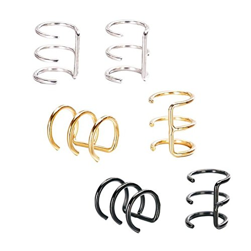 Coolrunner Stainless Steel Non-Pierced Clip On Earrings Fake Ear 3 Row Helix Cartilage Cuff Wrap Ear Ring 3 Pairs (Ear Cuffs Pierced)