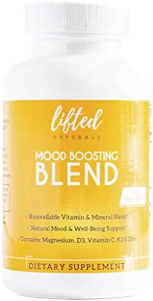 Mood Boosting Blend - Anxiety Relief Supplements: Vitamin D from Lichens, Magnesium Glycinate and Zinc Capsules with Vitamin C Plus Natural Bioflavonoids