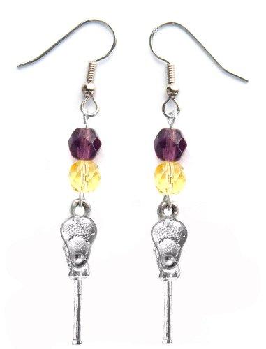 ''Lacrosse Stick & Ball'' Lacrosse Earrings (Team Colors Purple & Yellow) by Edge Sports