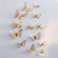 12pcs Metal Texture Hollow Butterfly Design Wall Stickers DIY Butterfly Decor