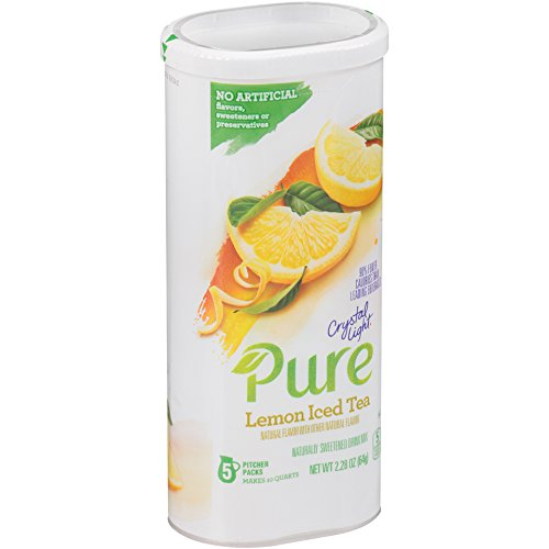Crystal Light Pure Lemon Iced Tea Drink Mix, Pitcher Pack, 5 Count