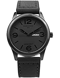 Quartz Black Leather Men's Wrist Watch Waterproof Classic...
