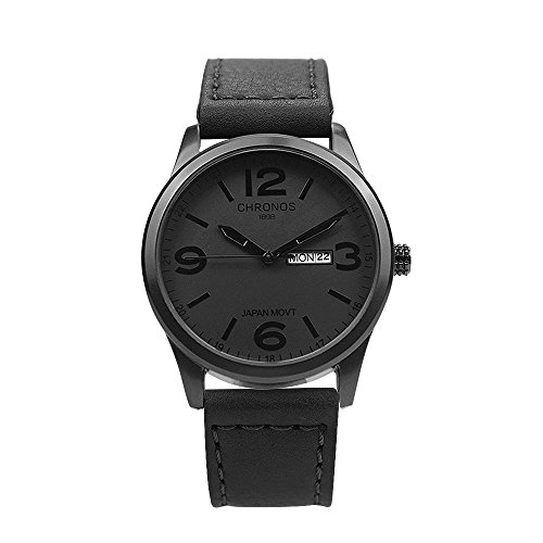 Chronos Quartz Black Leather Men's Wrist Watch Waterproof Classic Round Black Dial Large Number Calendar
