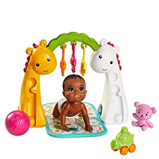​Barbie Skipper Babysitters Inc. Crawling and Playtime Playset with Baby Doll with Bobbling Head and Bottom, Floor Gym, Blanket and 6 Toy Accessories