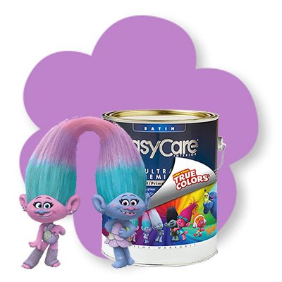 Double Purple Trolls Satin and Chenille Troll Paint/Primer In One