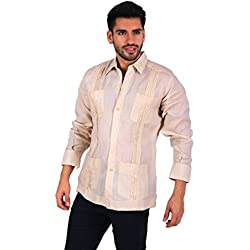 Guayabera yucateca 100% lino italiano color beige talla 38 manga larga