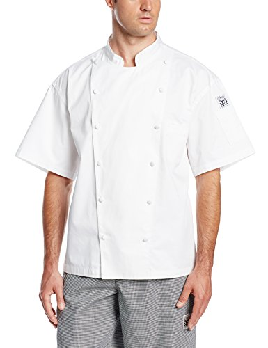 San Jamar J057 Luxury Cotton Cuisinier Short Sleeve Jacket with Pocket and Cloth Covered Button, 5X-Large, White by Chef Revival