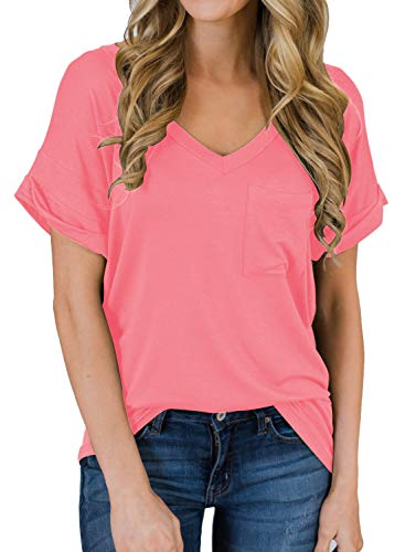 MIHOLL Women's Short Sleeve V-Neck Shirts Loose Casual Tee T-Shirt (Pink, Large)