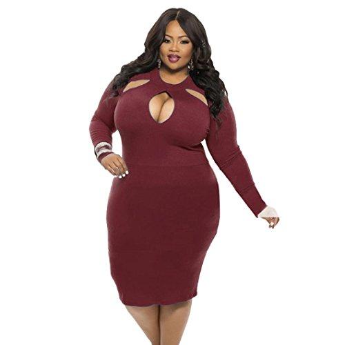 Goddessvan Plus Size Dress, Womens Sexy Long Sleeve Hollow Club Bodycon Bandage Midi Dress