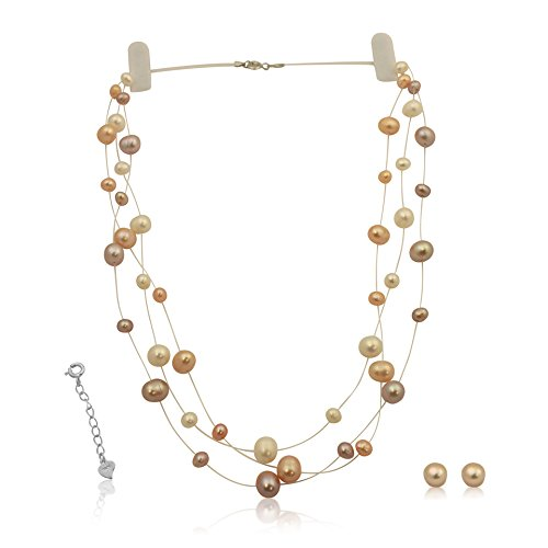Necklace Illusion Pearl (Bridal Cultured Pink Pearl Illusion Necklace Earrings Set 14K Over Sterling Silver 18