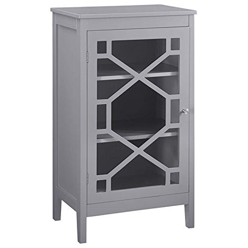 Riverbay Furniture 20'' Curio Cabinet in Gray by Riverbay Furniture