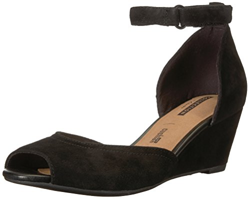 CLARKS Women's Flores Raye Platform, Black Suede, 8.5 Medium US