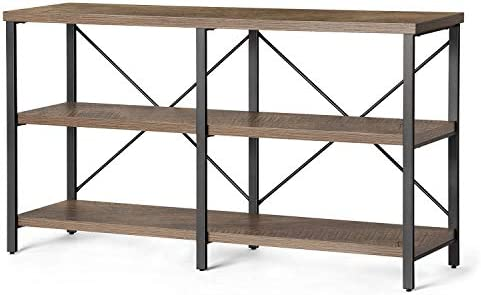KICODE Rustic Console Table, 55 Inch Sofa Table with Storage Shelf, Industrial Hallway Table, 3 Shelf Open Bookshelf Dark Gray Oak