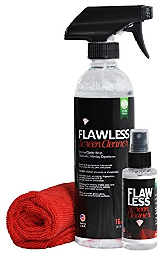 Flawless Screen Cleaner Spray with Microfiber Cleaning Cloth for LCD, LED Displays on Computer, TV, iPad, Tablet, Phone, and More (16oz + mini combo)