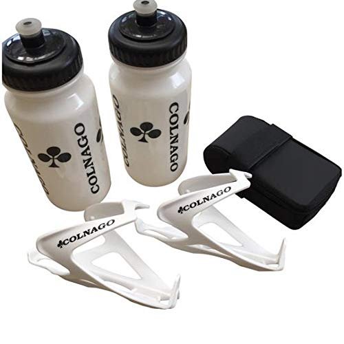 High End Bike Discount Colnago Bicycle Accessories Combo of 2 Water Bottles, 2 Air Water Bottle Cages & a Bicycle Saddle Bag (2 White Water Bottles, 2 White Water Bottle Cages and a Black Saddle Bag)