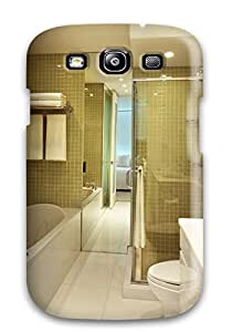Defender Case For Galaxy S3, Bathroom With Green Tiled Walls And Floor To Ceiling Mirror Pattern