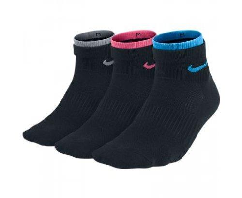 3 Pair Nike Womens Performance Cotton Lightweight Quarter Socks