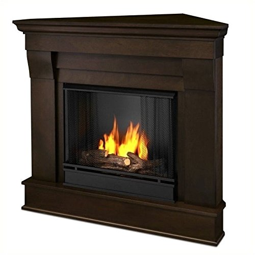 Real Flame Chateau Gel Corner Fireplace in Dark Walnut Finish (Ventless Gel Fireplace Corner)