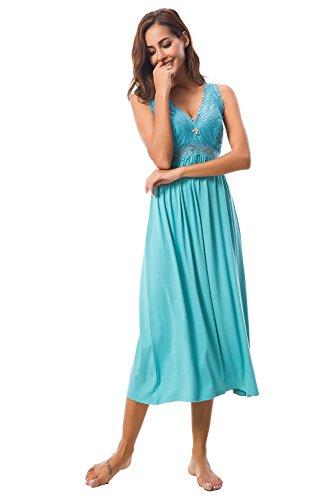 Sleepwear Nightgown Sleeveless Lace Cup Trim Knit Dress for Women (Mint, S) ()
