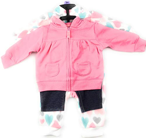 Carter's Baby Girl Fleece Jumper/Jeggings/Hoody Set (Pink/Hearts) 9 mos. ()
