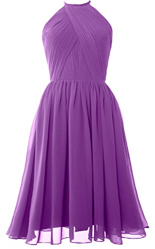 Halter Back Short Cocktail with Dress Chiffon Women MACloth Gown Amethyst Bridesmaid Open FTwqxp5C