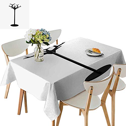 UHOO2018 Square/Rectangle Polyester Tablecloth Table Cover Wooden Black Coat Rack Isolate for Dining Room,50 x105inch