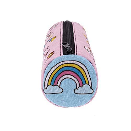 Gemini _ Mall® Einhorn Make-up Pinsel Gedruckt Tasche Schlüssel Tasche Münzfach Federmäppchen Pen Tasche mit Reißverschluss Funny Geschenke rose