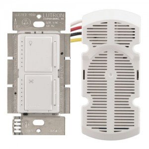 Fan Speed Control Maestro Combination 300W Dimmer 1.0A Fan Controller with Wall Plate - White-2PK by Lutron