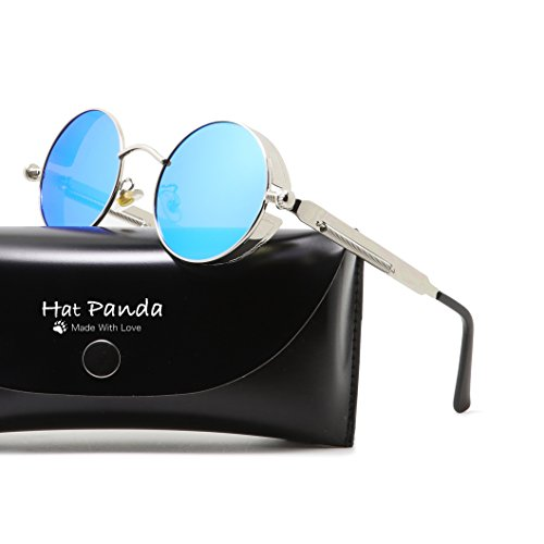 Round Polarized Steampunk Sunglasses Gothic John Lennon Sunglasses For Men And Women (Silver & Mirrored Blue, - Blue Steampunk