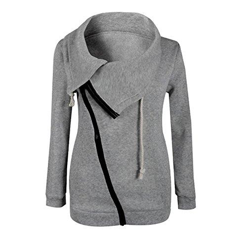 LHWY Femmes Winter Zipper Blouse Hoodie Sweat  capuche Pull Jacket Gris