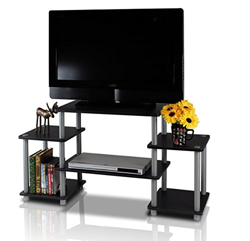 - Black Grey TV Stand Console Storage Media TV Cabinet Display Shelf Shelves Unit Living Room Furniture Organizer Entertainment Center