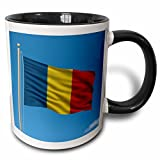 3dRose Carsten Reisinger Illustrations - Flag of Romania on a flag pole with blue sky Romanian - 11oz Two-Tone Black Mug (mug_157073_4)