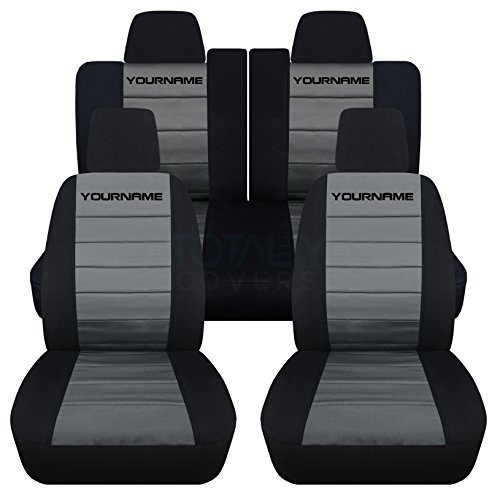 Totally Covers Fits 2011-2014 Ford Mustang 2-Tone Seat Covers with Your Name/Text: Black & Charcoal - Full Set (22 Colors) Coupe/Convertible V6/GT Solid/Split Bench 50/50 5th Gen 2012 2013