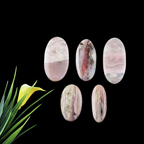 Jaguar Gems 100 Carats Natural Pink Opal Stone, Jewelry Making Supplies, Wire Wrapping Loose Cabochons, Chakra Healing Crystals and Gemstones, Stone for Pendant, Pack of 5
