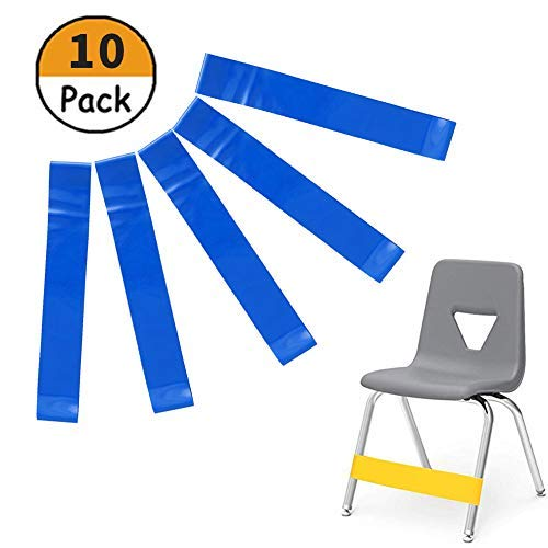 10 Pack Chair Bands Bouncy Kick Fidgets Resistance Chair Bands Stretch Foot Bands Sensory Bands for School Classroom Chairs and Desk, Ideal for ADHD, Autism, Hyperactivity (blue) (Rubbers For School)