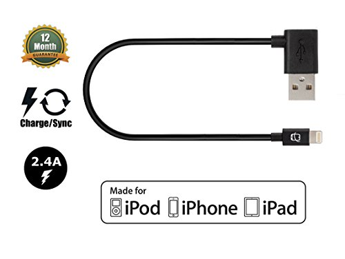 CreatePros MFi Certified Lightning to Angled USB Cable compatible with iPhone, iPad and iPod - 11 Inches (28 Centimeters) - Black by CreatePros