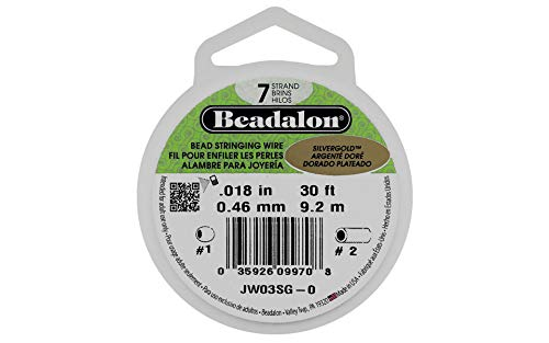 (Beadalon 7-Strand Stainless Steel 0.018-Inch Bead Stringing Wire, 30-Feet, Silver Gold)