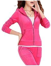 LKCEN-CA Women's Sweatshirt Velvet Two Pieces Set Hoodie Zip-Up Sweatpants Set