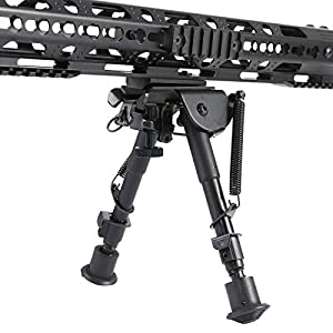 Pinty Tactical Rifle Bipod Adjustable Spring Return Adapter M-LOK System Black Anodized Aircraft Grade Aluminum Construction Adjustable 6-9 Inch Height