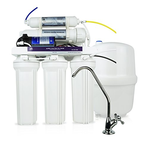 APEX Premium MR-5051 Under Sink 5-Stage Reverse Osmosis Drinking Water Filtration System, 50 GPD RO Membrane Water Filter, with Booster Pump by Apex