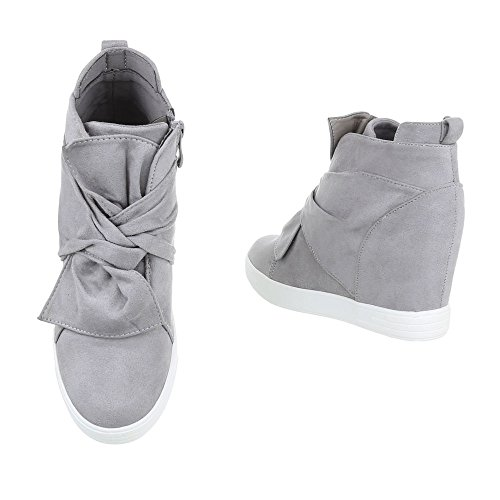 Zapatos de clair Design mujer tacon Plano cuna Botas de para gris Ital Botines HFXWqOFrw