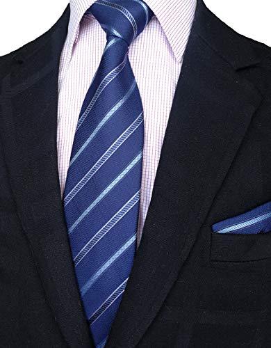 Pocket Square Handmade Tie - Men's 100% Silk Classy Necktie+Hanky Set By WITZROYS,Gift Box pack(W3.35L59