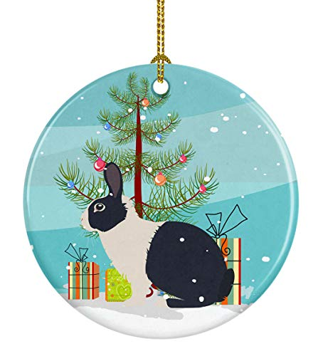 Caroline's Treasures BB9325CO1 Dutch Rabbit Christmas Ceramic Ornament, 3 in, Multicolor (The Christmas Rabbit)