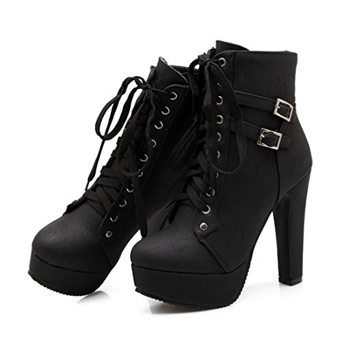 Mostrin Womens Motorcycle Boots Winter Sexy Buckle Lace Up Platform Chunky High Heel Ankle Booties - Sexy Buckle